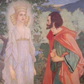 Fairy Queen (Ain) and Merlin.  Tuatha De Danann