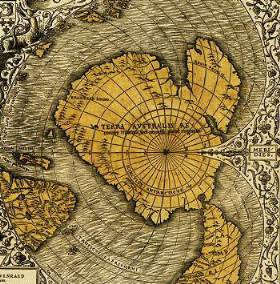 Fragment of the world map of O.Fine (1531) with ice-free Antarctica