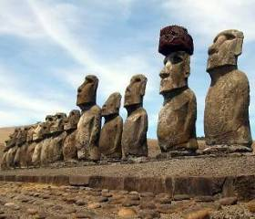 "Statues of Easter island from the gallery ""Intravital portrait of the ancients"""