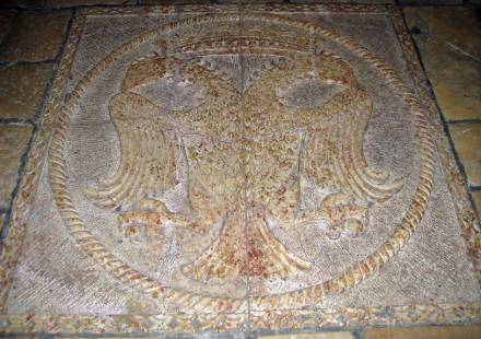 Two headed eagle on the floor of the Church of the Holy Tomb in Jerusalem
