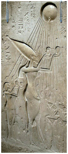 Intravital Portraits of the Ancients.Relief image of Akhenaten and Nefertiti