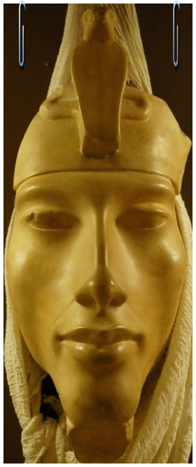 Intravital Portraits of the Ancients. Head of Akhenaten, Rosicrucian Egyptian Museum in San Jose, the USA