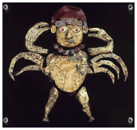 Intravital portraits of the ancients. Crab-man from Sipan, Peru